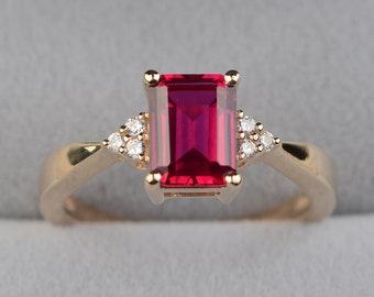 ruby ring yellow gold engagement ring emerald cut ring gold