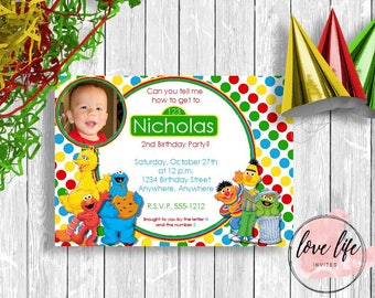 Sesame Street Birthday Invitation | Elmo and Friends Birthday Invitation | Elmo Birthday Invite | Sesame Street Birthday Party | Elmo