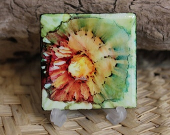 Water Lily // Alcohol Ink Painted Ceramic Tile // Hand painted One of a Kind Abstract Art