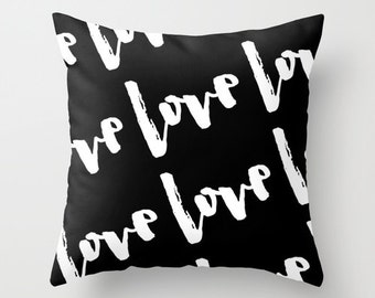 Love Decor, Canvas or Velvet Pillow Cover, Wedding Pillow, Bridesmaid Gifts, Black and White Wedding Decor, Bridal Shower Decorations