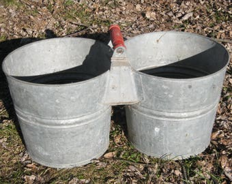 Vintage Nesco Galvanized Double Bucket -Vintage Twin Pail Metal Bucket