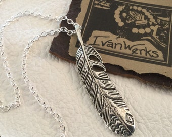 Feather Necklace Boho Necklace Chain Necklace Women's layering necklace Teen Necklace
