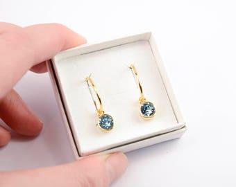 March Birthstone Hoop Earrings - Aquamarine Hoop Earrings - Birthstone Hoops - Birthstone Earrings - Birthstone Earring Hoops