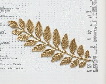 2 Large and long gold LAUREL LEAF jewelry embellishment 89mm x 33mm (ST6). Please read description