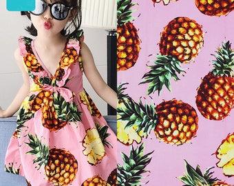 Cotton Fabric, Fruit Style, thin and summer fabric, Garment Cotton Fabric- 1/2 Yard (QT1290)