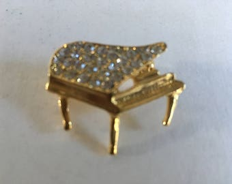Vintage Pave Rhinestone Grand 3D Piano Brooch Pin
