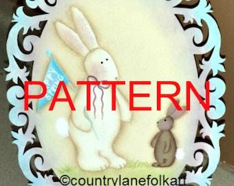 EPATTERN #0044 Happy Spring, painting pattern, tole painting pattern, decorative painting, digital download, bunny pattern, spring epattern