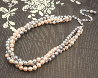 Very Elegant Wedding Bridal Multi Strand Choker Style Necklace with Blush Peach Pink and Pewter(Light Grey) Glass Pearls