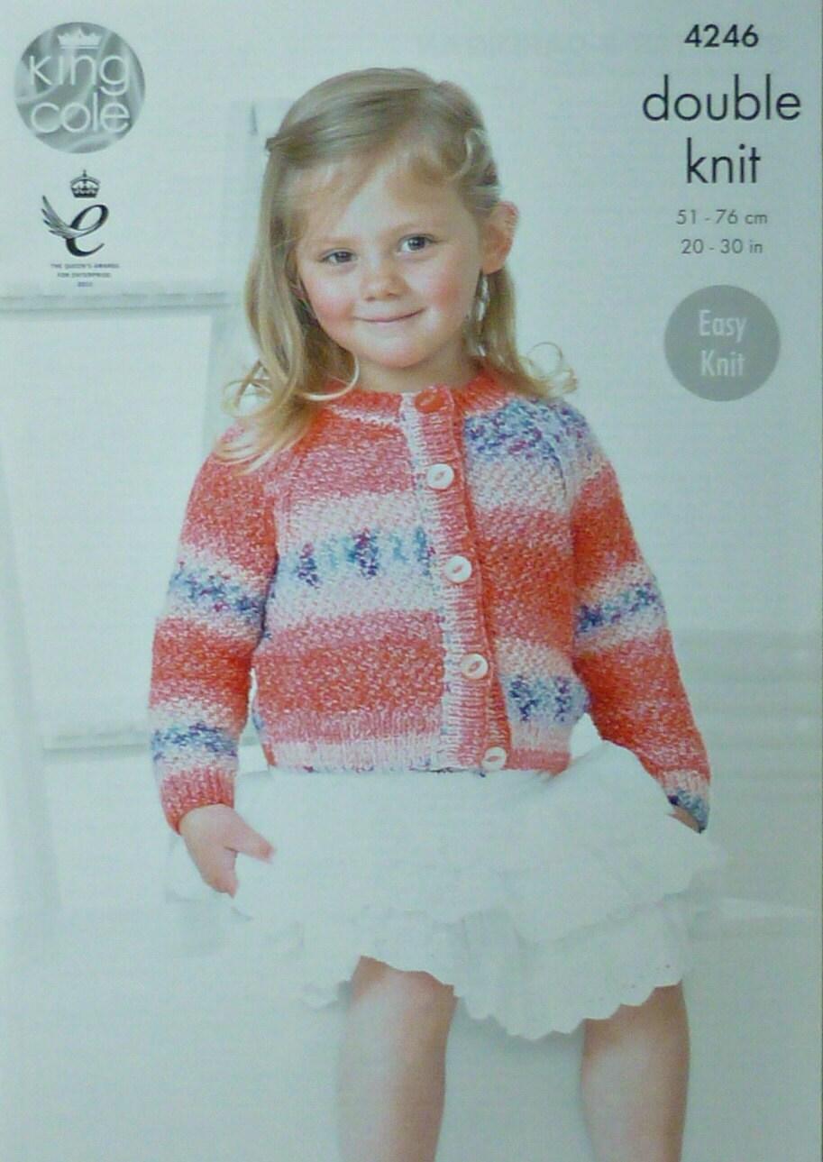 Girls Knitting Pattern K4246 Childrens Easy Knit Long Sleeve Round ...