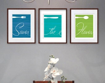 Dining Room Art Prints - Fork, Knife & Spoon - Set of 3 - Savor the Flavor - 8x10 Dining Room or Kitchen Wall Art / Decor - Aqua Blue Green