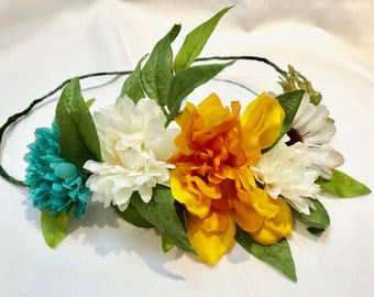 Flower Crown Floral Headpiece for Summer Concerts and Festivals