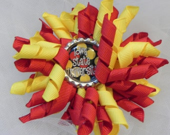 Iowa State Korker with Iowa State University Bottlecap, Red, Yellow, Cyclones, Team Apparel, Girls, Toddlers, Babies, Hair Bow