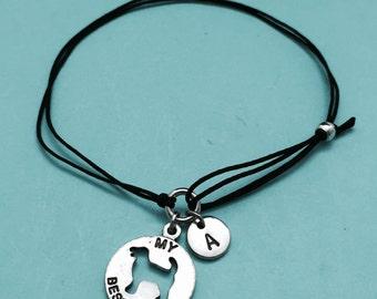 My best friend cord bracelet, my best friend charm bracelet, adjustable bracelet, charm bracelet, personalized, initial, monogram