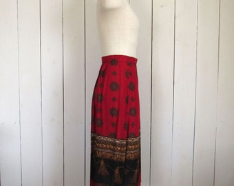 80s High Waist Skirt Nautical Rope Print Preppy Vintage Ralph Lauren Style Red Black Gold 26 Inch Waist Small