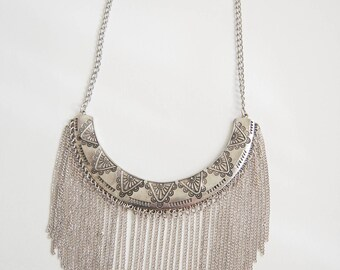 Silver Statement Necklace - Chain Metalwork Necklace