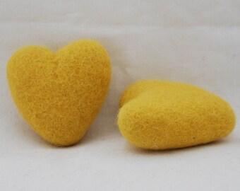 100% Wool Felt Heart - 2 Count - 6cm - Mustard Yellow