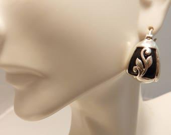 Sterling Silver Black Onyx Thick Hoop Earrings