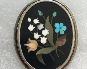 Italian 19th Century Sterling Pietra Dura Pin