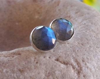 Labradorite earrings. Small, round artisan earrings. Gemstone earrings. Labradorite  post earrings. Solitaire earrings. Flashy earrings.