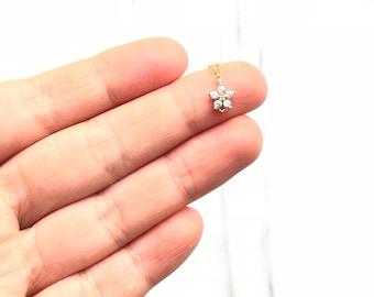 Tiny CZ Necklace, Dainty Necklace, Minimalist Necklace, Layered Necklace, Delicate Necklace, Simple Necklace, Birthday Gift for Her FXEWAT