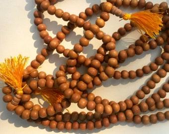 "9mm Natural Sandalwood Beads - 32"" Strand of Round Sandalwood Beads - 108 Bead Sandalwood Mala"