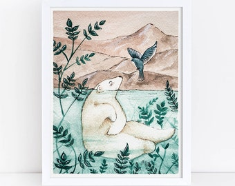 Bear and Bird Watercolor Art Print