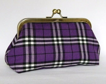 Clutch Purse, Royal Purple Tartan Design Clutch, Framed Clutch Purse