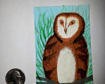 Itty Bitty Painting Owl Perched on Tree ACEO Original Art Painting Miniature