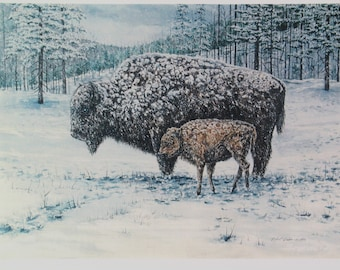 Buffalo Painting Bison Watercolor Painting Snow Scene Fine Art Print Nature Landscape Wall Art