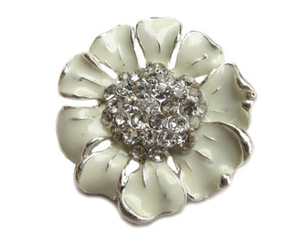 5 Cream Enamel Flower Rhinestone buttons - Wedding Bridemaid Hair Accessories Scrapbooking RB-048C (size 24mm or 0.9 inch)