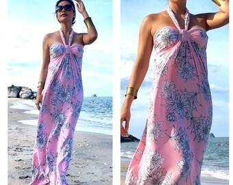 Light Pink  flowery floral Halter Beach evening long maxi Sun dress all size