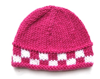 Pattern knit preemie newborn hat pdf beanie prem girl boy baby quick premature 8ply light worsted DK double knit checkerboard