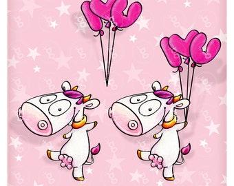 """Digi Stamp Set """"cow-I love u"""" v5"""