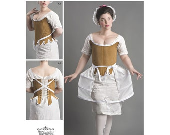 8579, Simplicity, 18th Century Women's Colonial, Edwardian, Highlander, Victorian, Undergarment, Cosplay, Panniers, Shift, Corset, Petticoat
