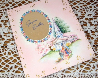 Vintage Joyous Easter Card, Mid Century Holiday Greeting Card, Church Scene, Pink, Old  (56-14)
