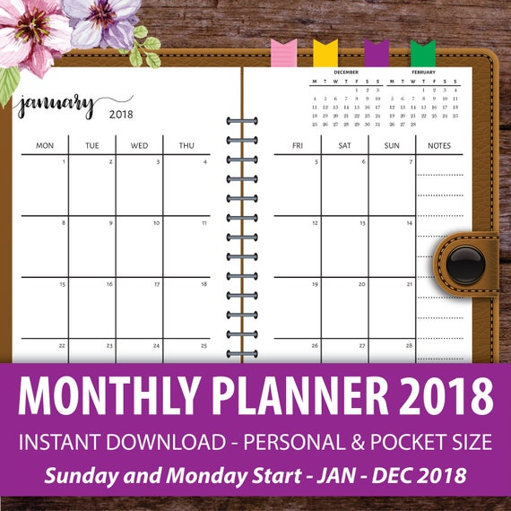 Printable Monthly Planner  Monthly Calendar Planner