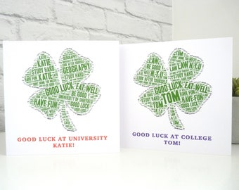 Personalised Good Luck at University Card, Personalised Good Luck at College Card, Good Luck Card, Special Card, Four Leaf Clover Card