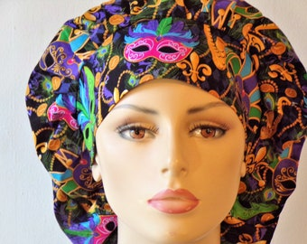 Mardi Gras Mask with a Matching Headband Bouffant Scrub Hats -Holiday Scrub Hats-Mardi Gras Scrub Hats-Scrub Caps-Handcrafted-Womens Hats