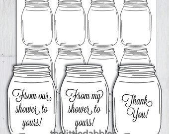 Printable Baby Shower Mason Jar Favor Tags -- From Our Shower to Yours Thank You Prize Favor Tags, Country Rustic Baby Shower Favor -- PDF