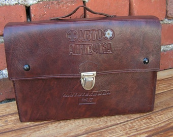 Vintage medical first aid kit for car First aid kit for car First aid Aid kit for car Leather doctor bag Aid kit Medical bag from 70's