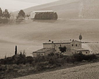 "Fine Art Sepia Landscape Photography of Tuscany Italy - ""Two Farms in the Tuscan Landscape in Sepia"" - Square or Vertical"