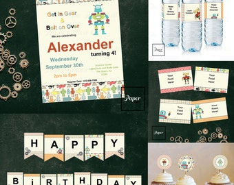 Robot-Get in Gear-Birthday Printable Party Set-DIY Printable-Instant Download-Editable Files-Banner-Labels-Tags-Toppers-Sign