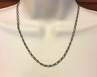 Long Gunmetal Chain in Three Lengths 18 Inch, 22 Inch and 27 Inch, Adjustable Black Chain, 6.6mm Wide, Minimalist Gunmetal Chain