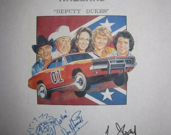 The Dukes of Hazzard Signed TV Script Screenplay Autographs Signatures Tom Wopat John Schneider Catherine Bach Denver Pyle Deputy Dukes