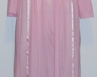 Vintage Pink Nylon Nightgown XS Sears 32 Long Sleeves Bell Cuffs Tricot Satin