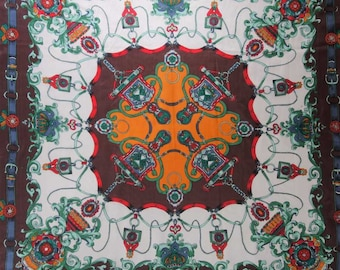 """Vintage Chiffon Silk Scarf 33"""" Crowns and Ornaments Pattern Hand Rolled Edges"""
