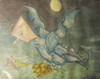 Surreal 1920's book-bird creature pursuing newlyweds