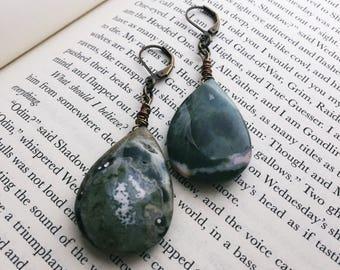 Ocean Jasper Earrings - Deep Green Teardrop Earrings - Antiqued Brass Dangle Earrings (Ready to Ship)