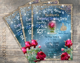 Glitter Sparkle Beauty and the Beast Enchanted Red Rose Birthday Invitation Card- Printable File