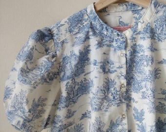 Toile de Jouy Print Shirt, Button Down Shirt, Puffy Sleeves Blouse, Custom Made Shirt, Available in Blue, Red, Black